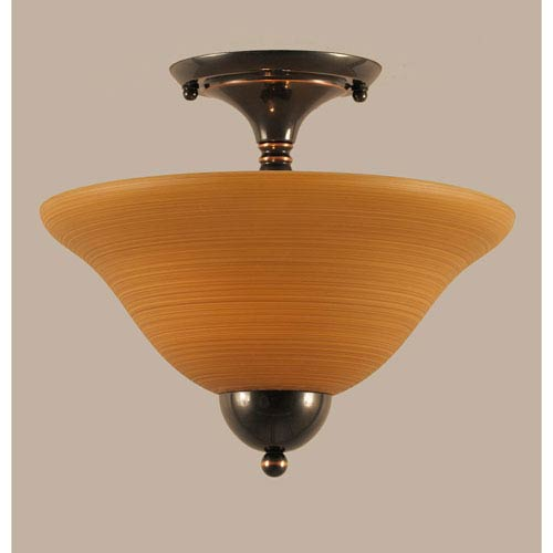 Toltec Lighting Black Copper 12-Inch Two Light Semi-Flush with Cayenne Linen Glass
