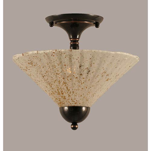 Toltec Lighting Black Copper 12-Inch Two Light Semi-Flush with Gold Ice Glass