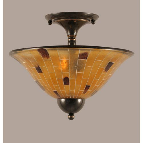 Toltec Lighting Black Copper 14-Inch Two Light Semi-Flush with Penshell Resin Glass
