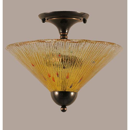 Toltec Lighting Black Copper 12-Inch Two Light Semi-Flush with Gold Champagne Crystal Glass