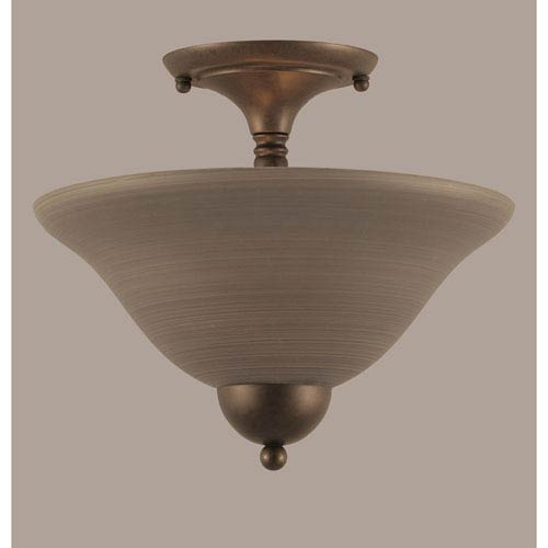 Toltec Lighting Bronze 12-Inch Two Light Semi-Flush with Gray Linen Glass