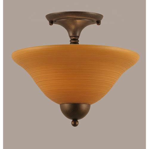 Bronze 12-Inch Two Light Semi-Flush with Cayenne Linen Glass