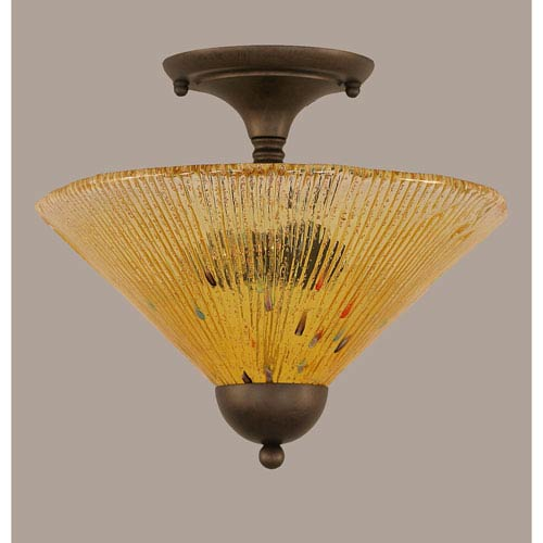 Bronze 12-Inch Two Light Semi-Flush with Gold Champagne Crystal Glass