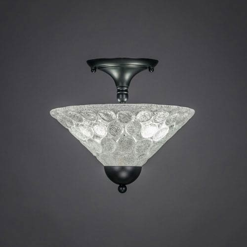 Matte Black 12-Inch Two Light Semi-Flush with Italian Bubble Glass