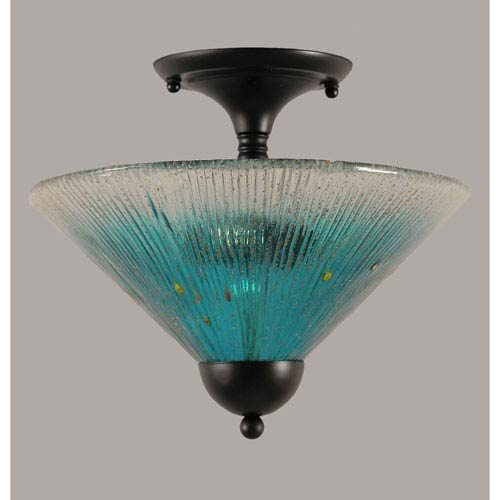 Toltec Lighting Matte Black 12-Inch Two Light Semi-Flush with Teal Crystal Glass