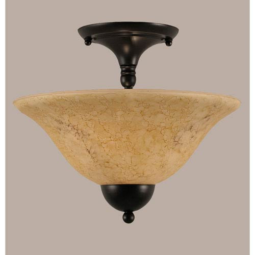 Matte Black 12-Inch Two Light Semi-Flush with Italian Marble Glass
