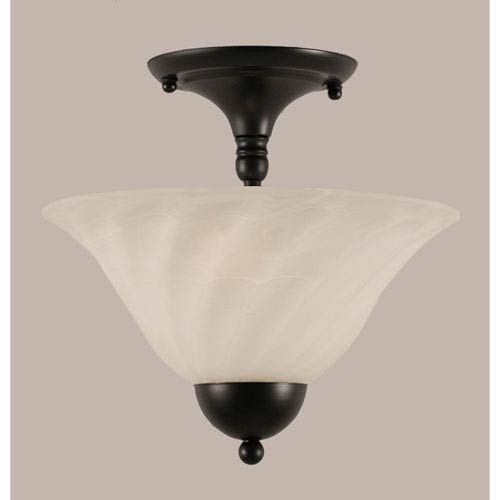 Toltec Lighting Matte Black 12-Inch Two Light Semi-Flush with White Alabaster Swirl Glass