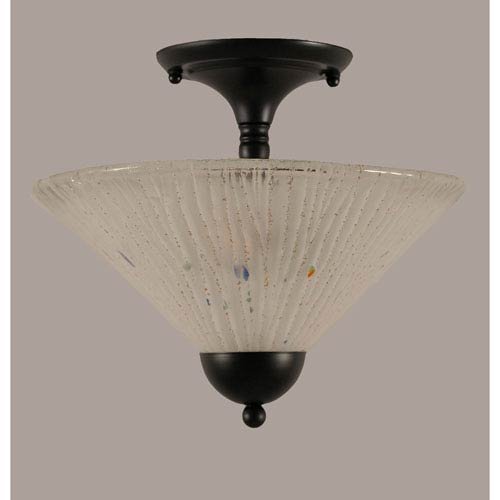 Toltec Lighting Matte Black 12-Inch Two Light Semi-Flush with Frosted Crystal Glass