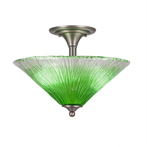Brushed Nickel Two-Light Semi-Flush with 16-Inch Kiwi Green Crystal Glass