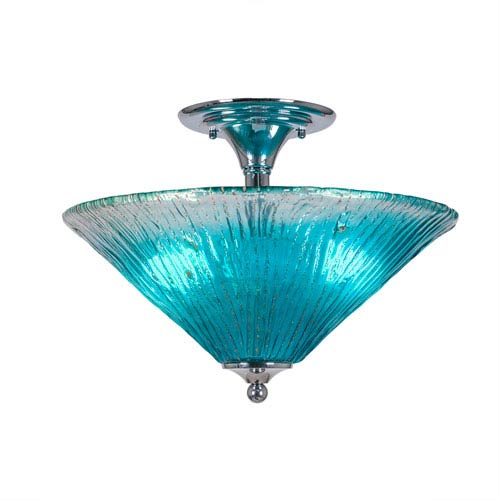 Chrome Two-Light Semi-Flush with 16-Inch Teal Crystal Glass