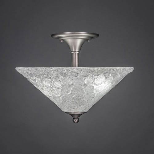 Brushed Nickel Two-Light Semi-Flush Mount with Bubble Glass