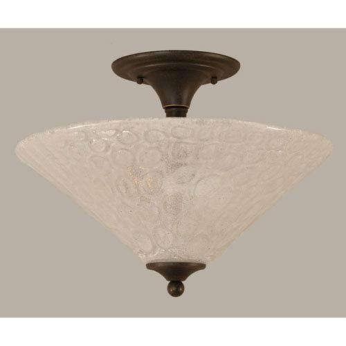 Toltec Lighting Dark Granite 16-Inch Two Light Semi-Flush with Italian Bubble Glass