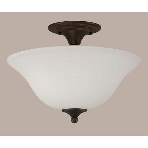 Dark Granite 16-Inch Two Light Semi-Flush with White Linen Glass