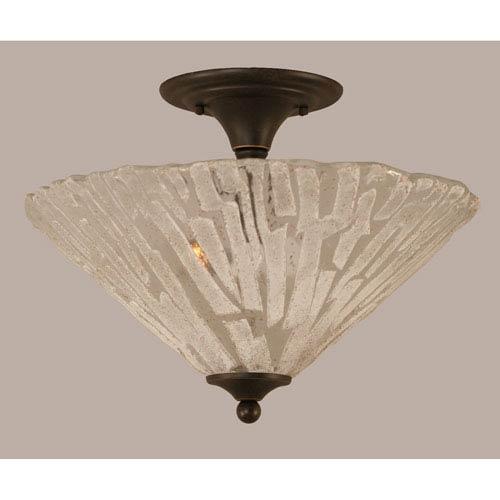 Toltec Lighting Dark Granite 16-Inch Two Light Semi-Flush with Italian Ice Glass