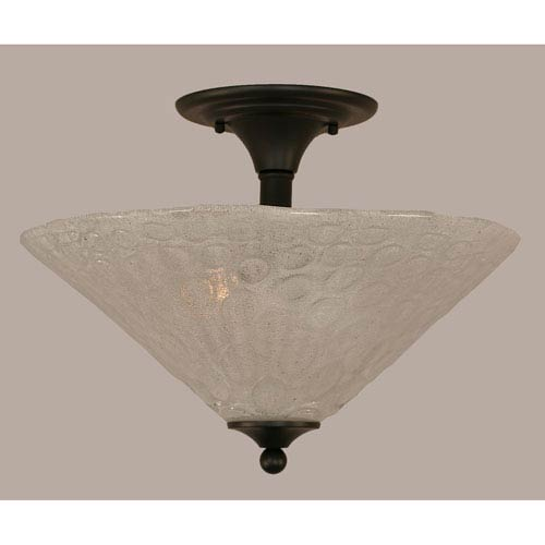 Toltec Lighting Matte Black 16-Inch Two Light Semi-Flush with Italian Bubble Glass