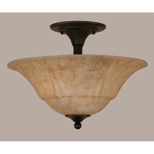 Toltec Lighting Matte Black 16-Inch Two Light Semi-Flush with Italian Marble Glass