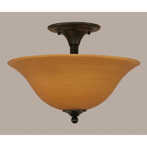 Matte Black 16-Inch Two Light Semi-Flush with Cayenne Linen Glass