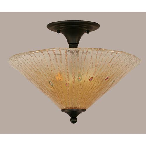 Toltec Lighting Matte Black 16-Inch Two Light Semi-Flush with Amber Crystal Glass