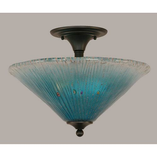Toltec Lighting Matte Black 16-Inch Two Light Semi-Flush with Teal Crystal Glass