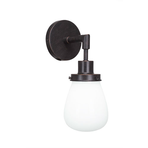 Meridian Dark Granite One-Light Wall Sconce with White Glass