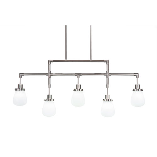 Meridian Brushed Nickel Five-Light Linear Pendant with White Glass