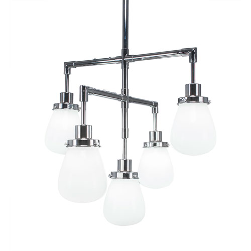 Toltec Lighting Meridian Chrome Five-Light Chandelier with White Glass