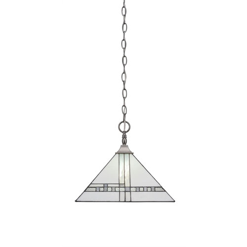 Brushed Nickel One-Light Pendant with 14-Inch New Deco Tiffany Glass