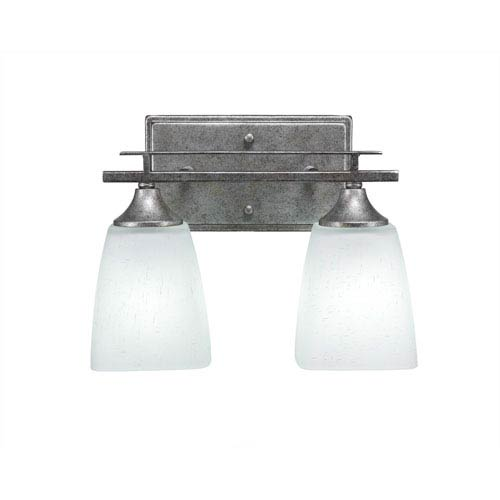Toltec Lighting Uptowne Aged Silver Two-Light Vanity with White Muslin Glass