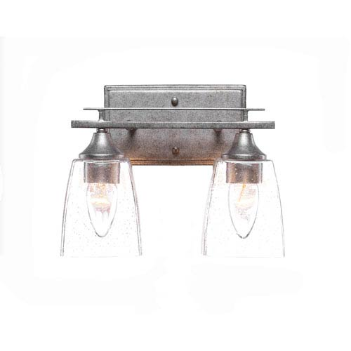 Uptowne Dark Granite Two-Light Vanity with Clear Bubble Glass