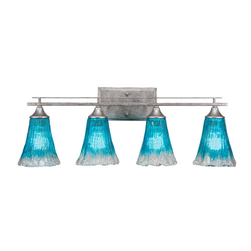 Toltec Lighting Uptowne Aged Silver Four-Light Bath Vanity with Fluted Teal Crystal Glass