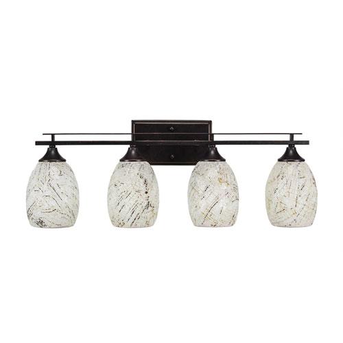 Toltec Lighting Uptowne Dark Granite Four-Light Bath Vanity with Natural Fusion Glass