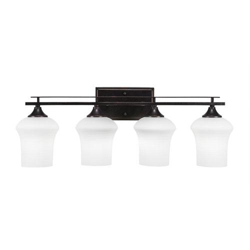 Toltec Lighting Uptowne Dark Granite Four-Light Bath Vanity with Zilo White Linen Glass