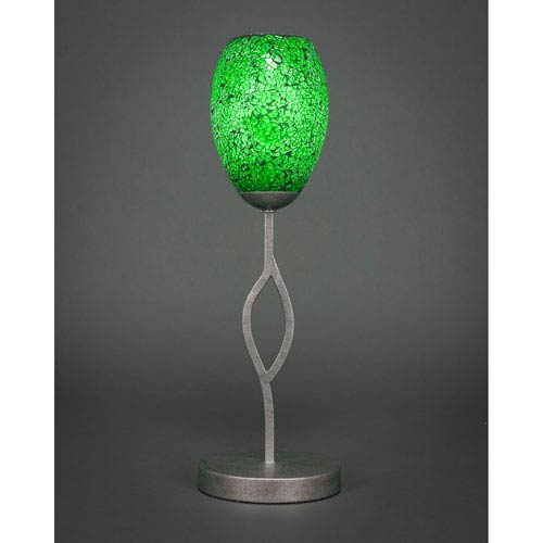 Revo Aged Silver One-Light Mini Table Lamp with Green Fusion Glass