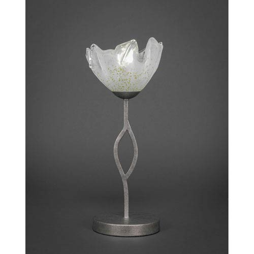 Revo Aged Silver One-Light Mini Table Lamp with 7-Inch Gold Ice Glass