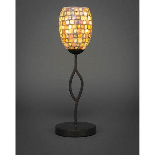 Revo Dark Granite One-Light Mini Table Lamp with Sea Haze Seashell Glass