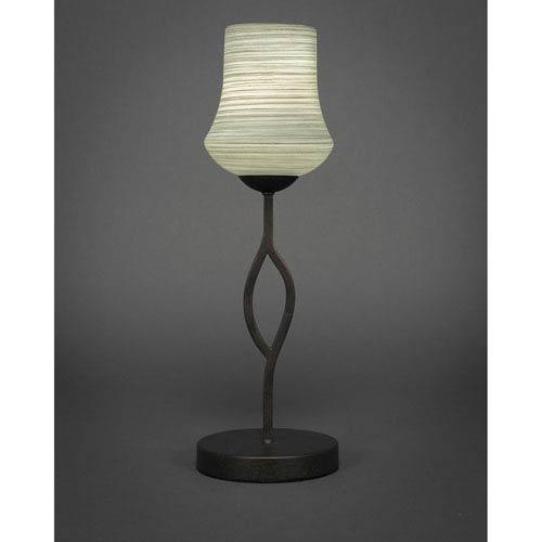 Revo Dark Granite One-Light Mini Table Lamp with 6-Inch Gray Linen Glass