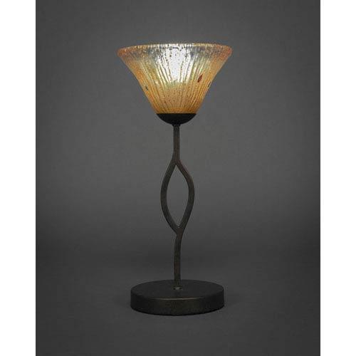 Revo Dark Granite One-Light Mini Table Lamp with Amber Crystal