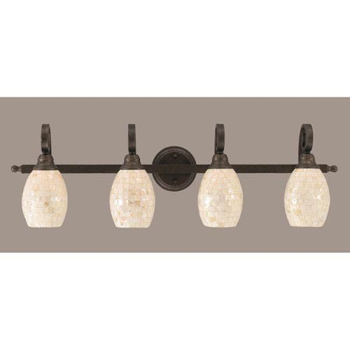 Toltec Lighting Curl Four-Light Bath Vanity Light - Bronze with 5 Inch Sea Shell Glass