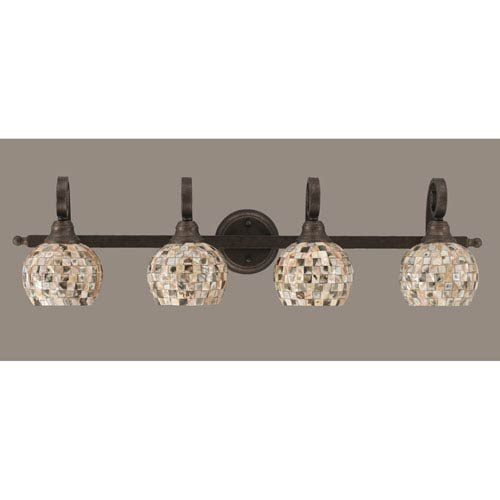 Toltec Lighting Curl Four-Light Bath Vanity Light - Bronze with 6 Inch Sea Shell Glass