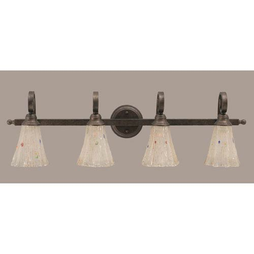 Toltec Lighting Curl Four-Light Bath Vanity Light - Bronze with 5.5 Inch Frosted Crystal Glass