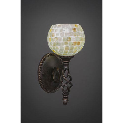 Toltec Lighting Elegante One-Light Wall Sconce - Dark Granite Finish with 6 Inch Sea Shell Glass