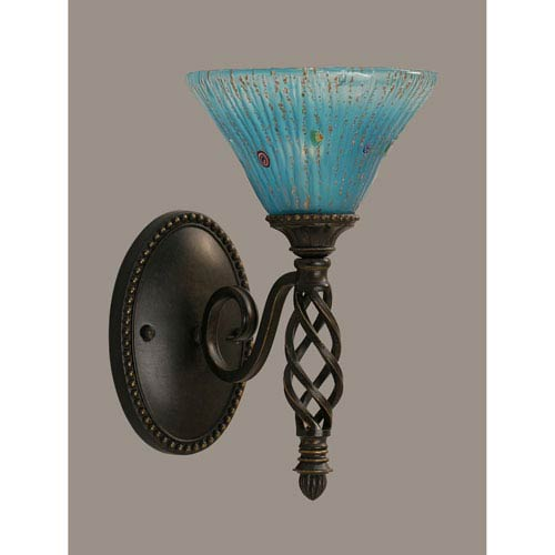 Toltec Lighting Elegante One-Light Wall Sconce - Dark Granite Finish with 7 Inch Teal Crystal Glass