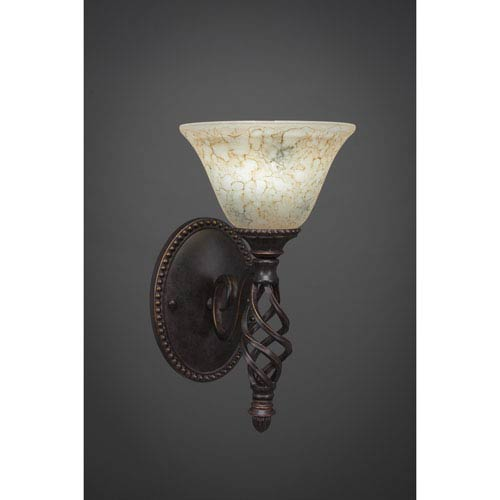 Elegante One-Light Wall Sconce - Dark Granite Finish with 7 Inch Italian Marble Glass