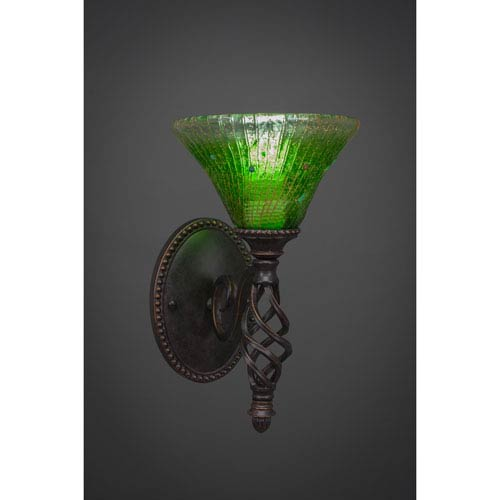 Toltec Lighting Elegante One-Light Wall Sconce - Dark Granite Finish with 7 Inch Kiwi Green Crystal Glass