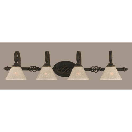 Toltec Lighting Elegante Four-Light Bath Vanity Light - Dark Granite Finish with 7 Inch Italian Bubble Glass