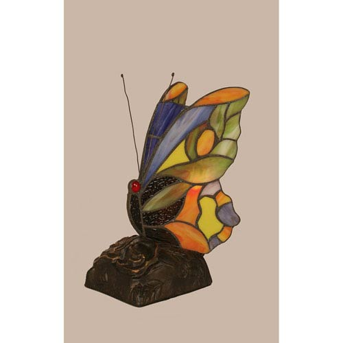 Toltec Lighting Orange Tip Tiffany Butterfly with Dark Granite One Light Accent Lamp