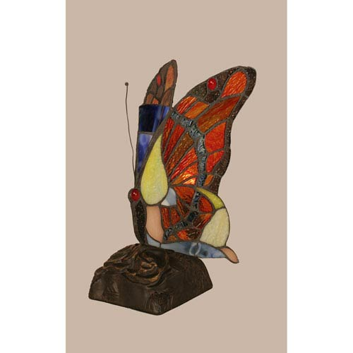 Toltec Lighting Purple Edge Copper Tiffany Butterfly with Dark Granite One Light Accent Lamp