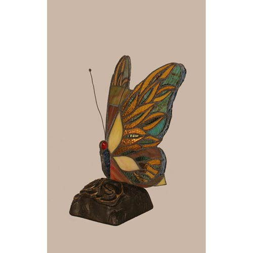 Toltec Lighting Purple Hairstreak Tiffany Butterfly with Dark Granite One Light Accent Lamp