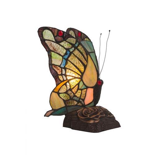 Toltec Lighting Butterfly Tiffany Glass Dark Granite One Light Table