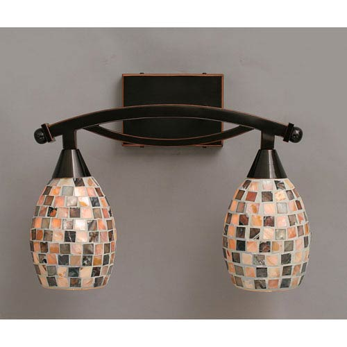 Bow Black Copper Two-Light Bath Bar with Sea Shell Glass